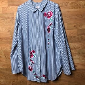 NWOT MERONA 3X Bell Sleeve Embroidered Blouse